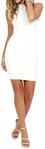 Meyison Damen Armellos Spitzenkleid Ballkleid Retro Rockabilly Sommerkleid Elegant Vintage Cocktailkleid Kleider Weiß-M - 5