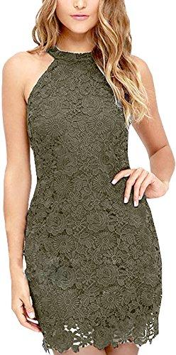 Meyison Damen Sommerkleid Vintage Ärmellos Spitzenkleid Ballkleid cocktailkleid Retro Rockabilly Festlich Partykleid 11 Farbe Graue-XL - 1