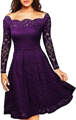 Meyison Damen Vintage 1950er Off Schulter Spitzenkleid Knielang Festlich Cocktailkleid Abendkleid Rockabilly Kleid Violett M - 1
