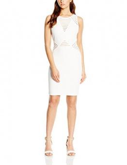 Michelle Keegan Damen Schlauch Kleid V NECK TEXT SHIFT, Knielang, Weiß, Gr. 34 (Herstellergröße: 8) - 1