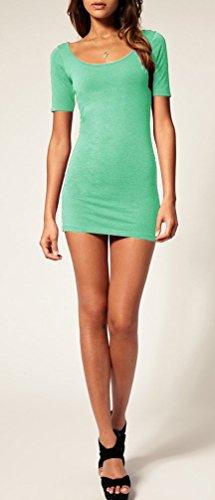 Mikos*Sommer Damen Kleid Kurzarm Longtop Long Shirt Bodycon Stretch Short Minikleid M L (L, Mint) - 2