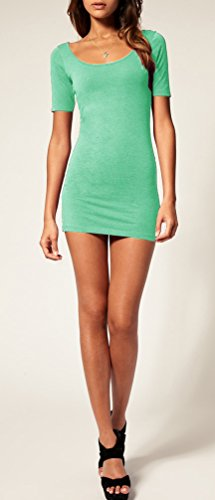 Mikos*Sommer Damen Kleid Kurzarm Longtop Long Shirt Bodycon Stretch Short Minikleid S/M (Mint) - 2