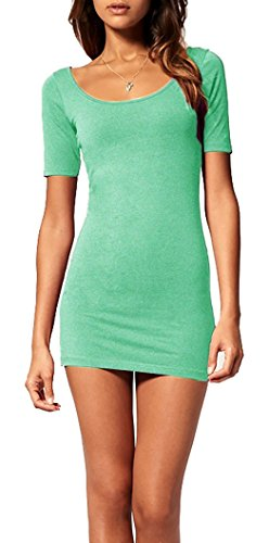 Mikos*Sommer Damen Kleid Kurzarm Longtop Long Shirt Bodycon Stretch Short Minikleid M L (L, Mint) - 1