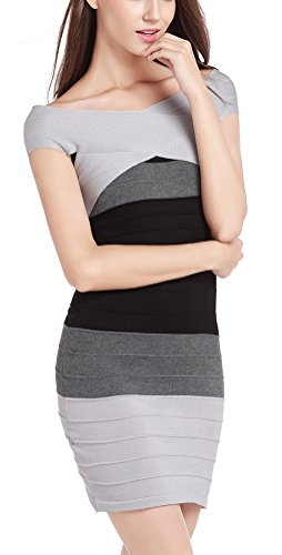 MILEEO Damen Etuikleid Figurbetonte Kleider Wickelkleid Kurz Schulterfrei Bandage mit Stretch Gestreift,Schwarz S -