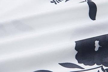 Minetom Damen Boho Sommerkleider Lange Ärmel Schulter Kleid Blumenmuster Party Kurzes Strandkleid Minikleid Weiß-Schwarz DE 42 -