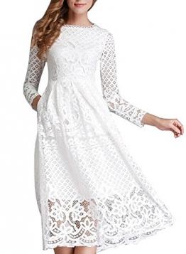 Minetom Damen Kleid Lange Ärmel Sommerkleid Spitze Elegant Abendkleid Partykleid Maxi Kleid Weiß DE 38 -