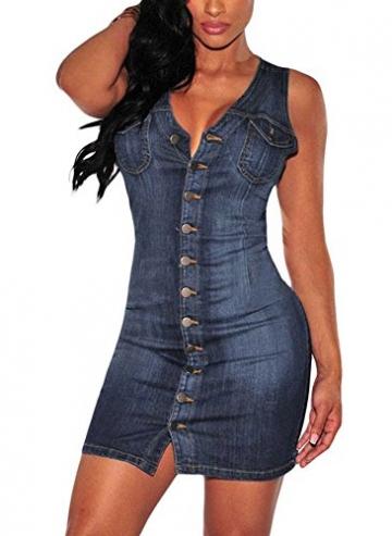 Minetom Damen Sommer Sexy Bodycorn Jeanskleid mit Knopf Ärmelloses Denim Blau Mini Kleid Vintage Tasche Kurz Dress Blau DE 40 -