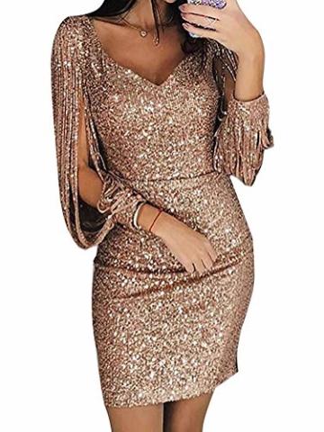 Minetom Robe Femme Sexy Slim Couleur Unie Robe Soirée Manches Longues à Franges Robe Cocktail Col V Robe Moulante à Paillettes Gold DE 36 - 1