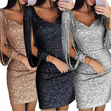 Minetom Robe Femme Sexy Slim Couleur Unie Robe Soirée Manches Longues à Franges Robe Cocktail Col V Robe Moulante à Paillettes Gold DE 36 - 2