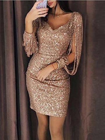 Minetom Robe Femme Sexy Slim Couleur Unie Robe Soirée Manches Longues à Franges Robe Cocktail Col V Robe Moulante à Paillettes Gold DE 36 - 4