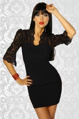 Mini-Kleid mit Spitze schwarz