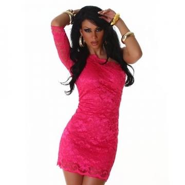 Minikleid asymmetrisch aus eleganter Spitze, pink Größe 32 34 36 - 2