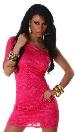 Minikleid asymmetrisch aus eleganter Spitze, pink Größe 32 34 36 - 1