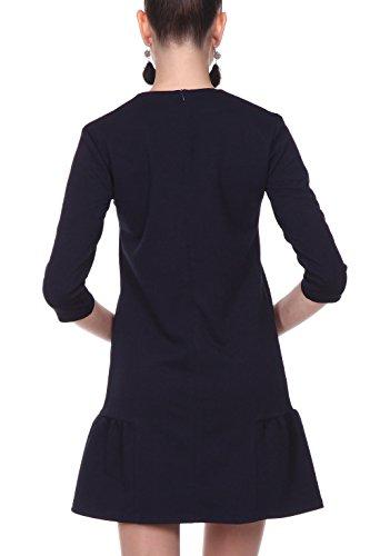 Minikleid Damen in 3 Farben, uni - RED Isabel - Kleid A-Linie kurz mit Volants, für Freizeit & Party, Modell: Bastogne, Blau, DE 40 -
