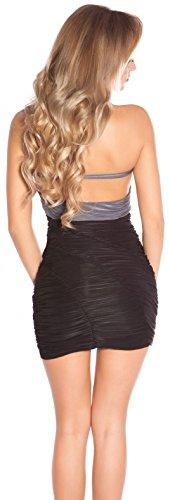 Minikleid Gerafft mit Wasserfallausschnitt * 34 36 38 * Abendkleid ärmellos Kleid Partykleid Cocktailkleid Etuikleid Business Koucla (ISF8888 Anthrazit) - 2