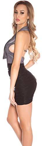 Minikleid Gerafft mit Wasserfallausschnitt * 34 36 38 * Abendkleid ärmellos Kleid Partykleid Cocktailkleid Etuikleid Business Koucla (ISF8888 Anthrazit) - 3