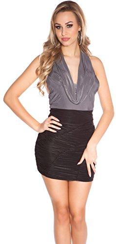 Minikleid Gerafft mit Wasserfallausschnitt * 34 36 38 * Abendkleid ärmellos Kleid Partykleid Cocktailkleid Etuikleid Business Koucla (ISF8888 Anthrazit) - 1