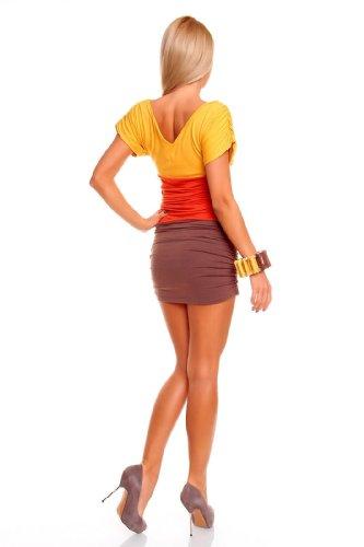 Minikleid Longtop Shirt Strandkleid Kleid Sommerkleid Freizeitkleid Gelb-Orange-Braun - 2