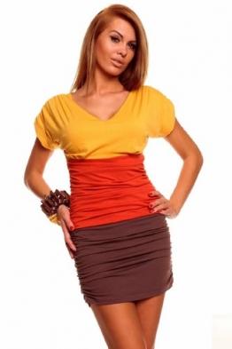 Minikleid Longtop Shirt Strandkleid Kleid Sommerkleid Freizeitkleid Gelb-Orange-Braun - 1