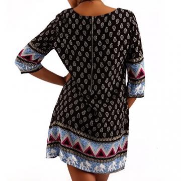 Minikleid Tunika Hippie Oversize Long-Shirt Rundhals Strandtunika, Farbe:Schwarz/Muster3;Größe:XL/XXL - 2