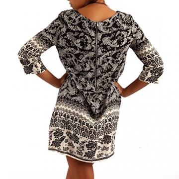 Minikleid Tunika Hippie Oversize Long-Shirt Rundhals Strandtunika, Farbe:Schwarz/Muster3;Größe:XL/XXL - 4