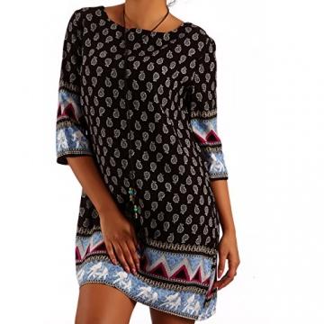 Minikleid Tunika Hippie Oversize Long-Shirt Rundhals Strandtunika, Farbe:Schwarz/Muster3;Größe:XL/XXL - 1