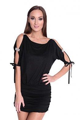 Minikleid Tunika Longshirt mit Pailletten & Raffungen Gr. 34 36 - 38 S M L XL, 5004 Schwarz M/L 38/40 -