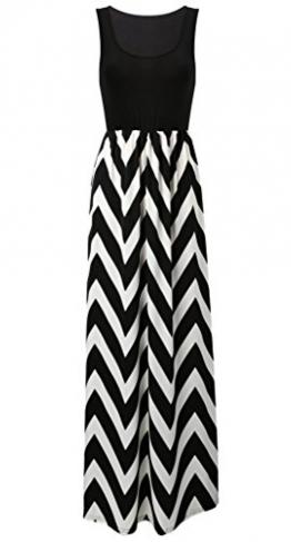 MIOIM® Damen Sommerkleid Kleider Maxikleid Streifen Schulterfrei Rundhals High Waist Lang Kleid Partykleid -