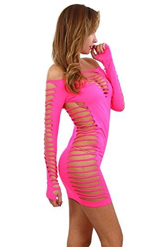 Miss Noir Damen Kleid elastisch und flexibel tragbar Einheitsgröße mit Langärmliges Clubwear Partykleid B6043-FS - 2