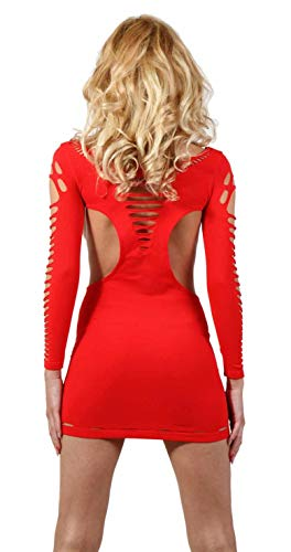 Miss Noir Damen Kleid elastisch und flexibel tragbar Einheitsgröße mit Langärmliges Clubwear Partykleid, Rot, Einheitsgröße - 2