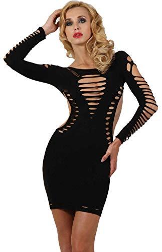 Miss Noir Damen Kleid elastisch und flexibel tragbar Einheitsgröße mit Langärmliges Clubwear Partykleid, Schwarz, Einheitsgröße - 1