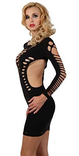 Miss Noir Damen Kleid elastisch und flexibel tragbar Einheitsgröße mit Langärmliges Clubwear Partykleid, Schwarz, Einheitsgröße - 2