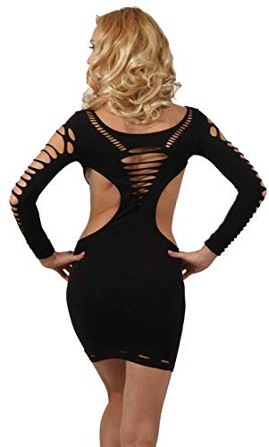 Miss Noir Damen Kleid elastisch und flexibel tragbar Einheitsgröße mit Langärmliges Clubwear Partykleid, Schwarz, Einheitsgröße - 3