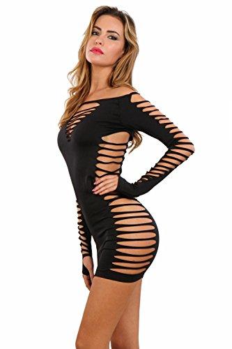 Miss Noir Damen Kleid elastisch und flexibel tragbar Einheitsgröße mit Langärmliges Clubwear Partykleid B6043-BK - 2