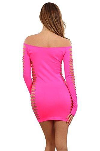 Miss Noir Damen Kleid elastisch und flexibel tragbar Einheitsgröße mit Langärmliges Clubwear Partykleid B6043-FS - 3