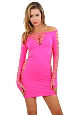 Miss Noir Damen Kleid elastisch und flexibel tragbar Einheitsgröße mit Langärmliges Clubwear Partykleid B6043-FS - 1
