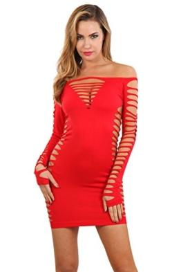 Miss Noir Damen Kleid elastisch und flexibel tragbar Einheitsgröße mit Langärmliges Clubwear Partykleid B6043-RD - 1
