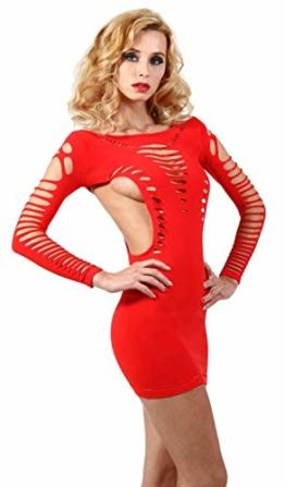 Miss Noir Damen Kleid elastisch und flexibel tragbar Einheitsgröße mit Langärmliges Clubwear Partykleid, Rot, Einheitsgröße - 1