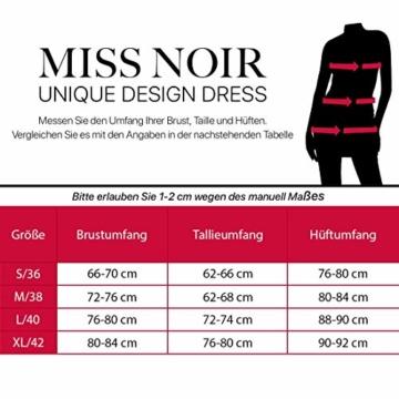 Miss Noir Damen Kleid im Wetlook V-Ausschnitt Lederlook Exklusives Clubwear Partykleid Rot (L, Schwarz) - 4