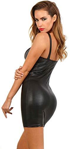 Miss Noir Damen Kleid im Wetlook V-Ausschnitt Lederlook Exklusives Clubwear Partykleid Rot (L, Schwarz) - 2