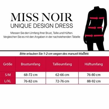 Miss Noir Damen Kleid im Wetlook V-Ausschnitt Partykleid Exklusives Clubwear, Schwarz, L/XL - 4