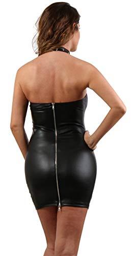 Miss Noir Damen Mini-Kleid im Wetlook Partykleidung Clubwear mit Zweiwege-Reißverschluss (M) - 3