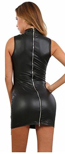 Miss Noir Damen Mini-Kleid im Wetlook PartyKleidung Clubwear mit Zweiwege-Reißverschluss (L/40) 19630-BK - 3