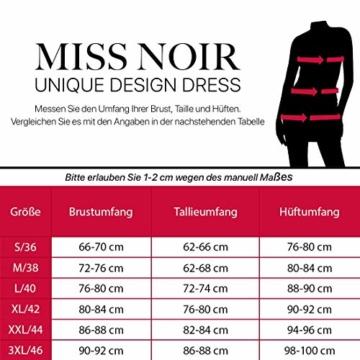 Miss Noir Damen MiniKleid im Wetlook Clubwear Partykleid Mesh-Einsätze V-Ausschnitt Lederlook (S, Schwarz) L118D-BK - 3