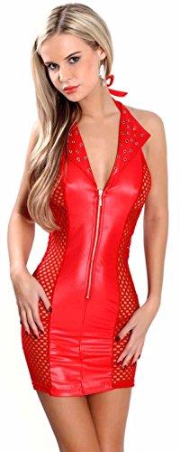 Miss Noir Damen MiniKleid im Wetlook Clubwear Partykleid Mesh-Einsätze V-Ausschnitt Lederlook (L/40) L118D-RD - 1
