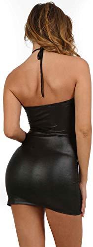 Miss Noir Damen Rückenfreies Kleid im Wetlook V-Ausschnitt Stretchkleid Clubwear Lederlook Schwarz und Rot (S/M, Schwarz) - 3