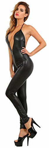 Miss Noir Overall im Wetlook Rückenfreier Playsuit 2-Wege-Reißverschluss Exklusives Clubwear (M/38) 18235-BK - 2