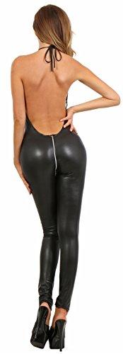 Miss Noir Overall im Wetlook Rückenfreier Playsuit 2-Wege-Reißverschluss Exklusives Clubwear (M/38) 18235-BK - 3