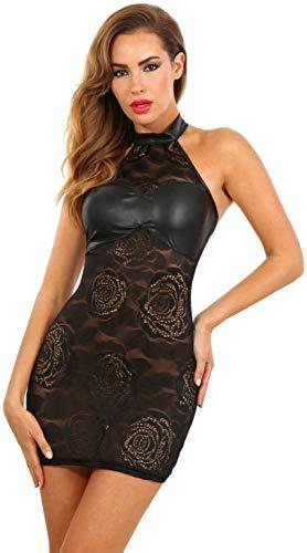 Miss Noir Rückenfreies Kleid im Wetlook und besticktem Tüll Florales Muster Verschlussklammern Clubwear Partykleid (S/M) 19554-BK - 1