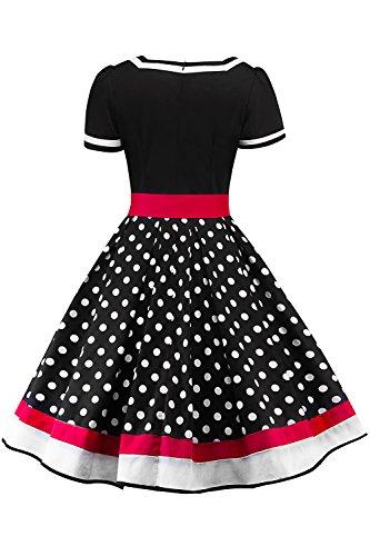 MisShow Damen elegant 50er Jahre Petticoat Kleider Gepunkte Rockabilly Kleider Cocktailkleider - 2